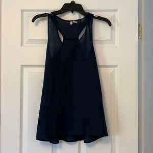 Navy Blue Sheer Tank Top. Size small